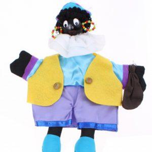 Zwarte Piet - Handpop 25 cm Blauw/paars