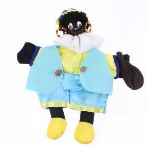 Zwarte Piet - Handpop 25cm Geel/blauw