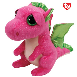 Pluche roze Draak Darla met glitter ogen 24cm