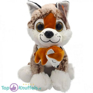 Husky Pluche Knuffel Met Baby (Bruin) 25 cm