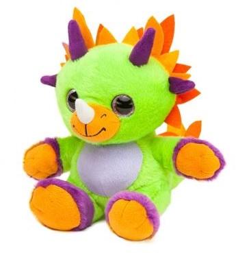 Dino Knuffel Met Glitterogen Groen Oranje 20CM