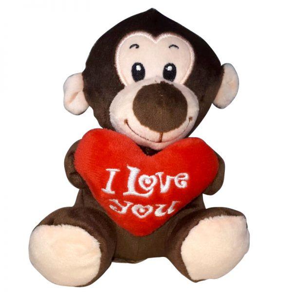 Aapje met I Love You Hart Knuffel 15 cm