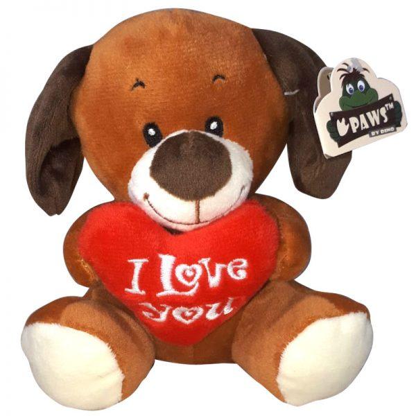 Hond met I Love You Hart Knuffel 15 cm