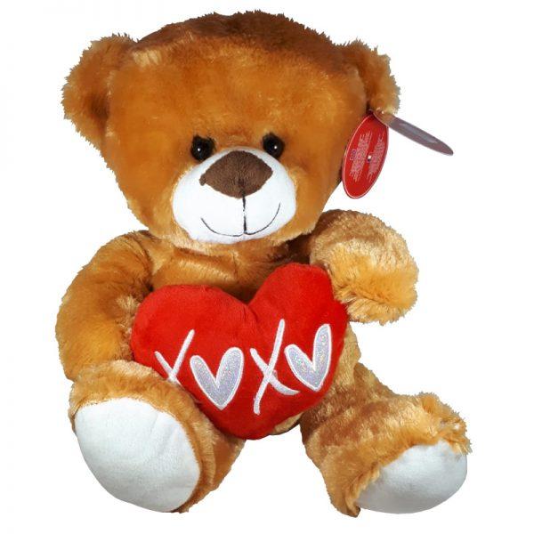 Teddybeer met hart Bruin Knuffel 32cm
