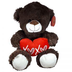 Teddybeer met hart Donkerbruin Knuffel 32cm