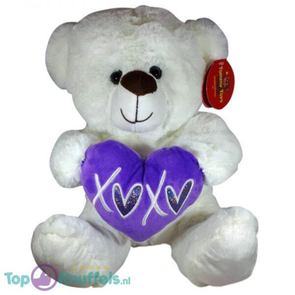 Teddybeer met hart Wit Knuffel 32cm