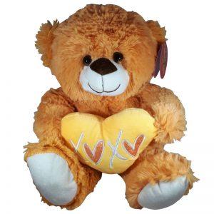 Teddybeer met hart Oranje Knuffel 32cm