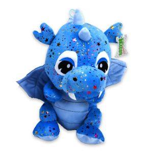 Blauwe Pluche Draak knuffel met glitter sterren 33cm