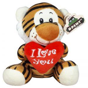 Tijger met I Love You Hart Knuffel 15 cm