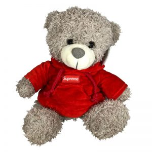 Teddy beer met trui Supreme rood 30cm