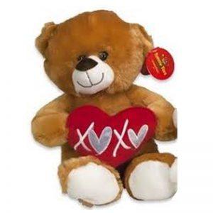 Teddybeer met hart Lichtbruin Knuffel 32cm