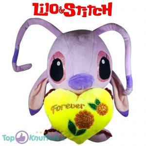 Disney Angel Lilo en Stitch met geel hart ''Forever'' Pluche Knuffel 30 cm