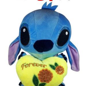 Disney Stitch met geel hart ''Forever'' Pluche Knuffel 30 cm