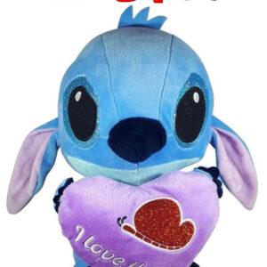 Disney Stitch met paars hart ''I Love You'' Pluche Knuffel 30 cm
