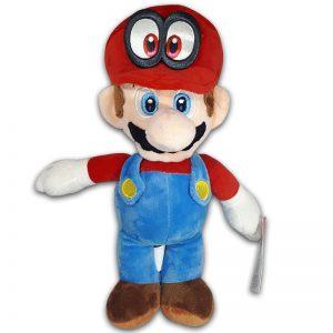 Pluche Mario Bros Knuffel Mario met ogen pet 30 cm