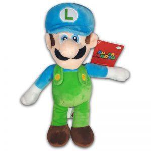 Pluche Mario Bros Knuffel Luigi Blauw 30 cm