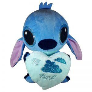 Disney Stitch met hart Pluche Knuffel Blauw 30cm