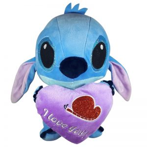 Disney Stitch met hart Pluche Knuffel Paars 30cm