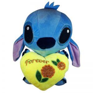 Disney Stitch met hart Pluche Knuffel Geel 30cm