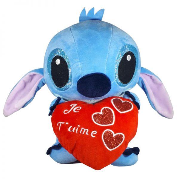Disney Stitch met hart Pluche Knuffel Rood 30cm