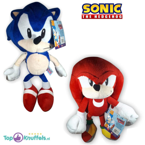 Sonic The Hedgehog + Knuckles Pluche Knuffel Set 30 cm