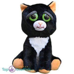 Feisty Pets Zwarte Kat Pluche Knuffel 25 cm