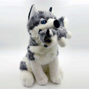 Huskey Met Baby Pluche Hond Knuffel Grijs/Blauw/Wit 30 cm