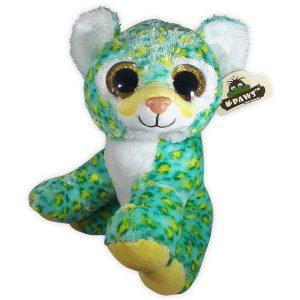 Pluche Kat met glitter ogen Turquoise/Geel 26 cm