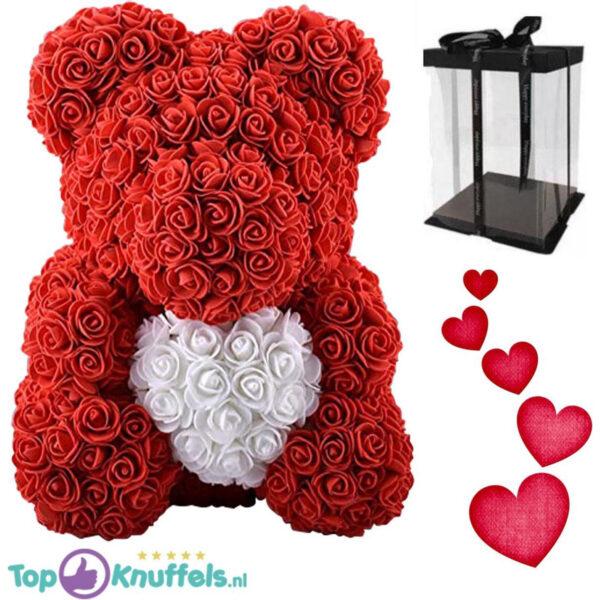 Rozenbeer rood met wit hart 28 cm