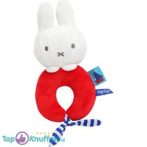 Nijntje Rammelaar (Rood) 17 cm + Pluche Knuffel Vingerpop (10 cm)