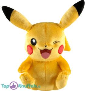 Pokemon Pikachu Zittend Knipoog Pluche Knuffel 22 cm