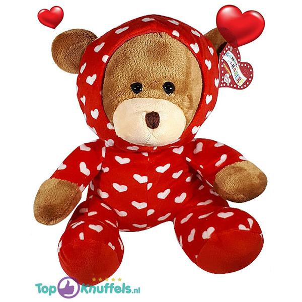 Bruine Teddybeer in hartjes pyjama onesie 32 cm