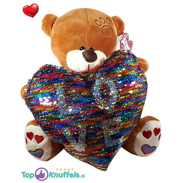 Bruine Teddybeer met disco glitter hart