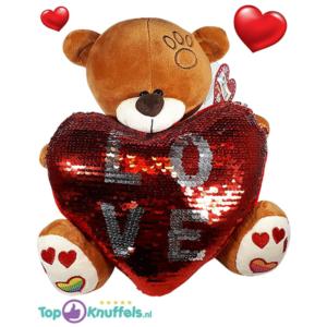 Bruine Teddybeer met glitter hart ''LOVE'' 32 cm