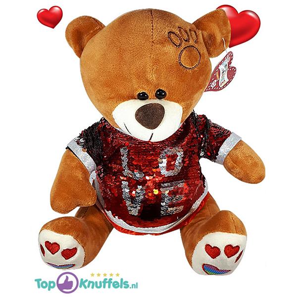 Bruine Teddybeer met rood glitter shirtje ''LOVE'' 32 cm
