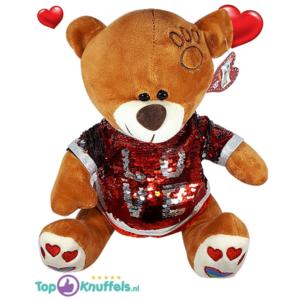 Bruine Teddybeer met rood glitter shirtje