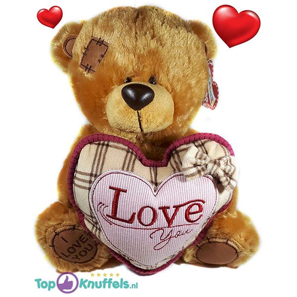 Bruine Teddybeer met roze hart ''I Love You'' 32 cm