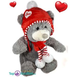 Grijze Teddybeer met rode love muts 32 cm