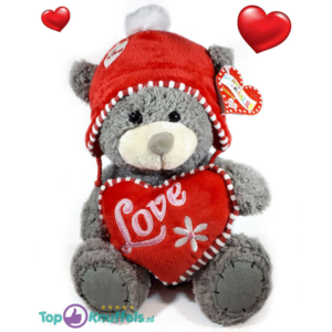 Grijze Teddybeer met rood hart en mutsje LOVE 32 cm