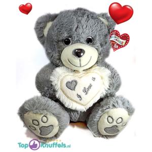 Grijze Teddybeer met wit hart