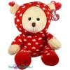 Licht bruine Teddybeer in hartjes onesie pyjama 32 cm
