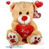 Lichtbruine Teddybeer met rood hart ''Hug Me'' 32 cm