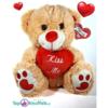 Lichtbruine Teddybeer met rood hart ''Kiss Me'' 32 cm