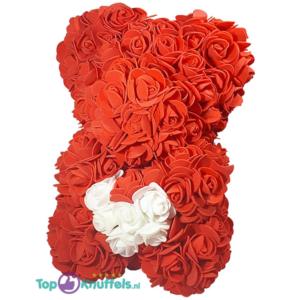 Rozen beer rood met wit hart 25 cm