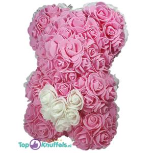 Rozen beer roze met wit hart 25 cm