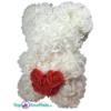 Rozenbeer wit met rood hart 25 cm