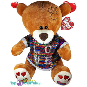 Valentijn Bruine Teddybeer met disco glitter shirtje ''LOVE'' 32 cm