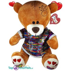 Valentijn Bruine Teddybeer met disco glitter shirtje