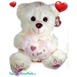 Witte Teddybeer met licht roze