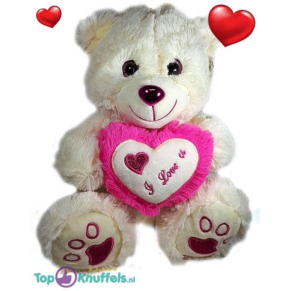 Witte Teddybeer met wit en donker roze hart ''I Love U'' 32 cm
